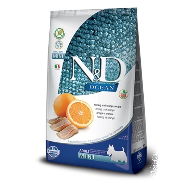 N&D  dog GF OCEAN  ADULT  MINI herring/orange - 800g