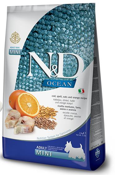 N&D dog LG OCEAN ADULT MINI CODFISH/ORANGE - 2,5kg