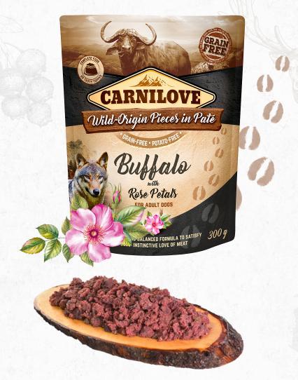 carnilovwe dog kapsa paté buffalo/rose petals 300g