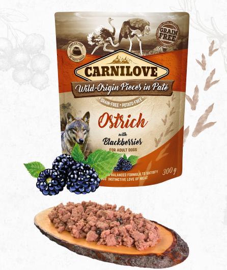 carnilove dog  kapsa  paté ostrich/blackberries 300g
