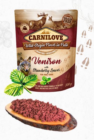 Carnilove dog  kapsa paté venison/strawberry leaves 300g