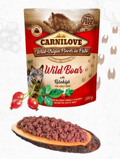 Carnilove dog  kapsa paté wild boar/rosehips 300g