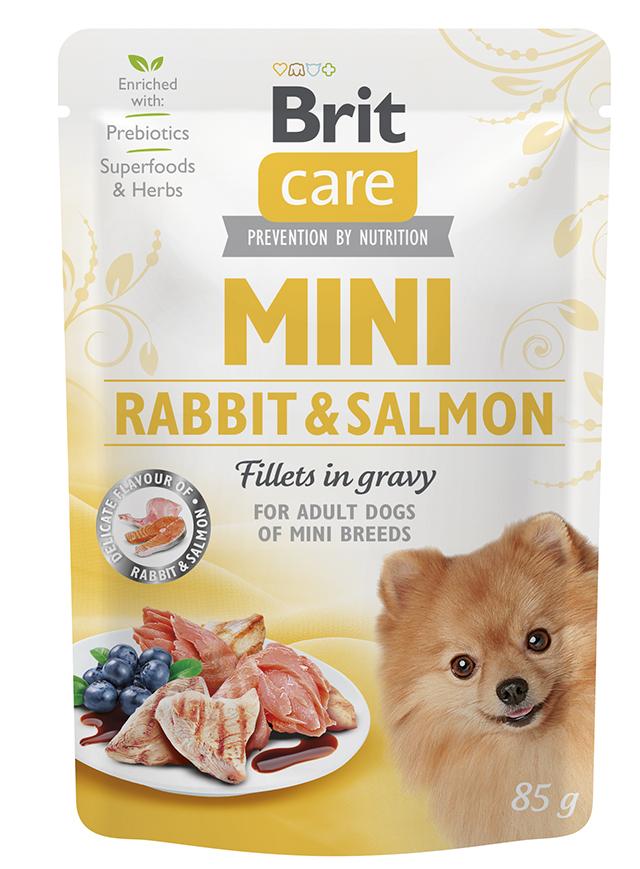 Brit care dog  mini kapsa adult  rabbit/salmon 85g
