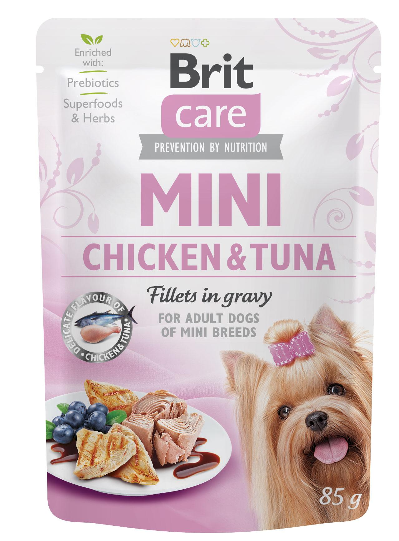 Brit care dog mini kapsa  adult chicken/tuna 85g