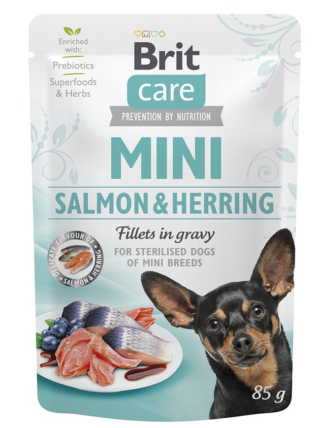 Brit care dog  mini kapsa  sterilised  salmon/herring 85g