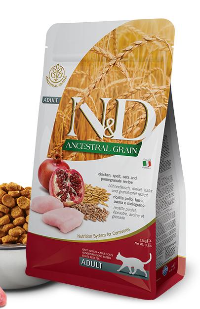N&D lg cat adult chicken/pomegranate 10kg