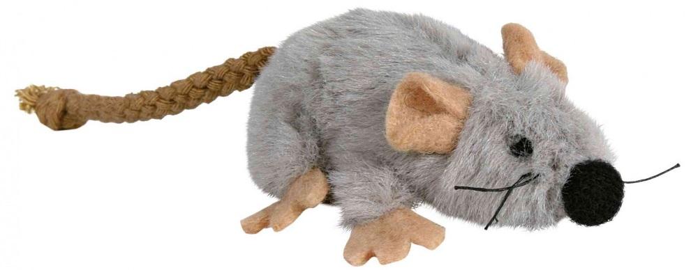 Plyšová myška šedá s catnipem