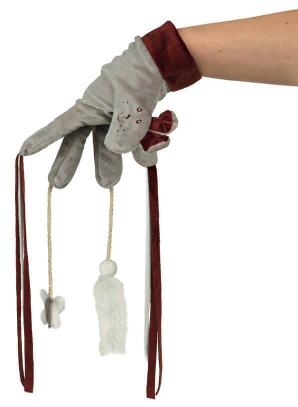 Plyšová rukavice s hračkami/třásněmi 30cm