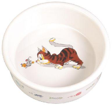 Miska keramická bílá kočka/myš (trixie)